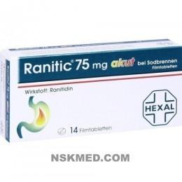 RANITIC 75 akut bei Sodbrennen Filmtabletten 14 St