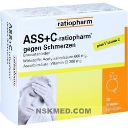 ASS + C ratiopharm gegen Schmerzen Brausetabletten 20 St